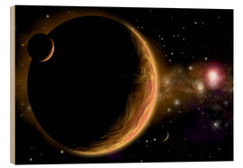 Cuadro de madera  Artist's depiction of an orange and cloudy world with two moons. - Marc Ward