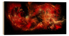 Cuadro de madera  A large red nebula covering a huge region of space. - Corey Ford