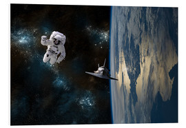 Cuadro de PVC  An astronaut drifting in space is rescued by a space shuttle orbiting Earth. - Marc Ward