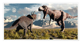 Póster  Tyrannosaurus Rex and Triceratops meet for a battle to the death. - Mark Stevenson