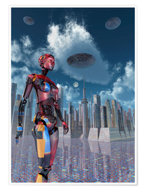 Póster  A futuristic city where robots and flying saucers are common place. - Mark Stevenson