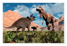 Póster  Prehistoric battle between a Triceratops and Tyrannosaurus Rex. - Mark Stevenson
