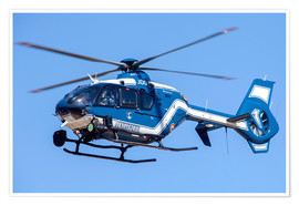 Póster  French police/gendarmerie EC135 helicopter in flight over France. - Timm Ziegenthaler