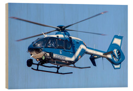 Cuadro de madera  French police/gendarmerie EC135 helicopter in flight over France. - Timm Ziegenthaler