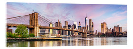 Cuadro de metacrilato  Panoramic of Brooklyn bridge and Manhattan skyline at sunset, New York city, USA - Matteo Colombo