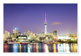Póster Auckland harbour and skyline at night, New Zealand