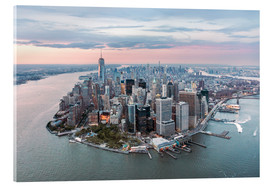 Cuadro de metacrilato  Aerial view of lower Manhattan with One World Trade Center at sunset, New York city, USA - Matteo Colombo
