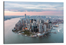 Aluminio-Dibond  Aerial view of lower Manhattan with One World Trade Center at sunset, New York city, USA - Matteo Colombo