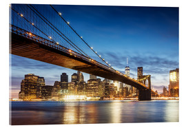 Cuadro de metacrilato  Brooklyn bridge and Manhattan at night, New York city, USA - Matteo Colombo