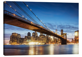 Lienzo  Brooklyn bridge and Manhattan at night, New York city, USA - Matteo Colombo
