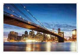 Póster  Brooklyn bridge and Manhattan at night, New York city, USA - Matteo Colombo