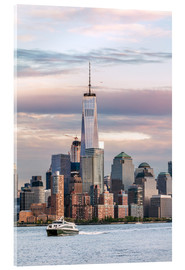 Cuadro de metacrilato  World trade center and Manhattan skyline at sunset, New York city, USA - Matteo Colombo