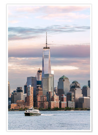 Póster  World trade center and Manhattan skyline at sunset, New York city, USA - Matteo Colombo