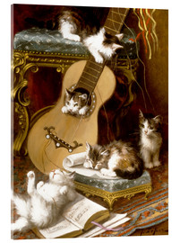Cuadro de metacrilato  Kittens at play with a guitar - Jules Le Roy