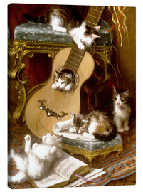 Lienzo  Kittens at play with a guitar - Jules Le Roy