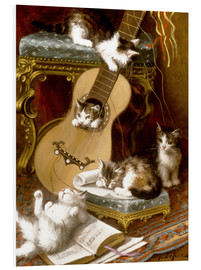 Cuadro de PVC  Kittens at play with a guitar - Jules Le Roy