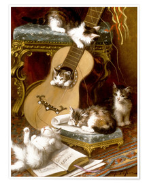 Póster Kittens at play with a guitar