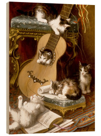 Cuadro de madera  Kittens at play with a guitar - Jules Le Roy