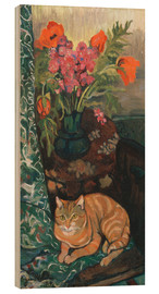 Cuadro de madera  Bouquet and cat - Suzanne Valadon
