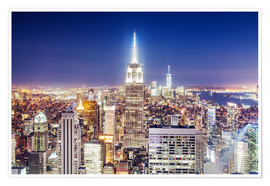 Póster Empire State Building and Manhattan skyline at night, New York city, USA