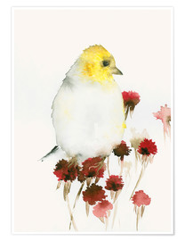 Póster Yellow Bird and Flowers