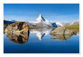 Póster Stellisee and Matterhorn in the Swiss Alps in summer