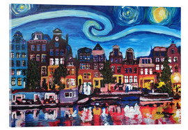 Metacrilato  Starry Night over Amsterdam Canal with Van Gogh Inspirations - M. Bleichner