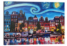 Aluminio-Dibond  Starry Night over Amsterdam Canal with Van Gogh Inspirations - M. Bleichner