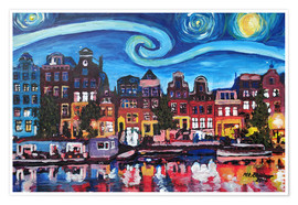 Póster  Starry Night over Amsterdam Canal with Van Gogh Inspirations - M. Bleichner