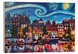 Madera  Starry Night over Amsterdam Canal with Van Gogh Inspirations - M. Bleichner