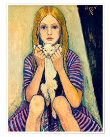 Póster Child with cat