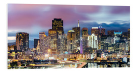 Cuadro de PVC  Panoramic of San Francisco downtown district skyline at night, California, USA - Matteo Colombo