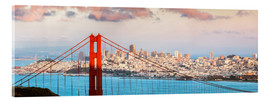 Cuadro de metacrilato  Panoramic sunset over Golden gate bridge and San Francisco bay, California, USA - Matteo Colombo