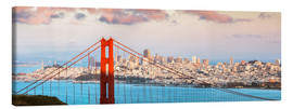 Lienzo  Panoramic sunset over Golden gate bridge and San Francisco bay, California, USA - Matteo Colombo