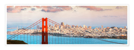 Póster  Panoramic sunset over Golden gate bridge and San Francisco bay, California, USA - Matteo Colombo
