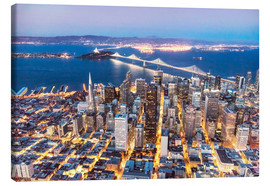 Lienzo  Aerial view of San Francisco downtown with Bay bridge at night, California, USA - Matteo Colombo