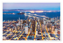 Póster  Aerial view of San Francisco downtown with Bay bridge at night, California, USA - Matteo Colombo