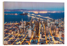 Matteo Colombo - Aerial view of San Francisco downtown with Bay bridge at night, California, USA