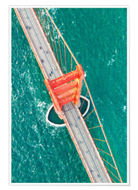 Póster  Aerial view of Golden gate bridge, San Francisco, California, USA - Matteo Colombo