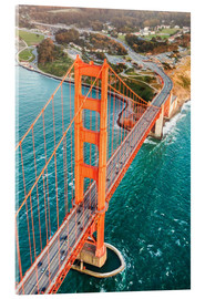 Cuadro de metacrilato  Flying over Golden gate bridge, San Francisco, California, USA - Matteo Colombo