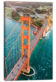 Lienzo  Flying over Golden gate bridge, San Francisco, California, USA - Matteo Colombo