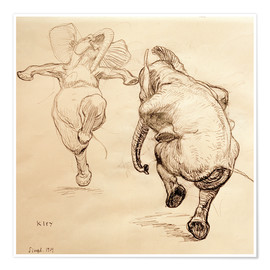 Póster  Two dancing elephant - Heinrich Kley
