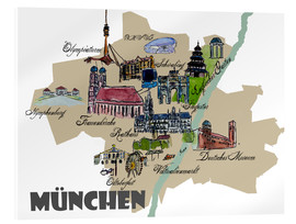 Cuadro de metacrilato  Munich Map Overview Best Of Highlights - M. Bleichner