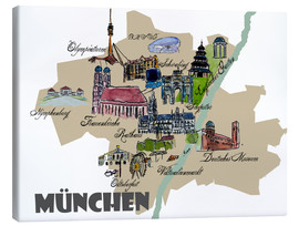 Lienzo  Munich Map Overview Best Of Highlights - M. Bleichner