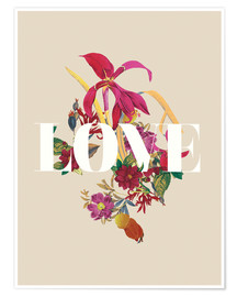 Póster  Exotic Love flowers botanical art - Nory Glory Prints