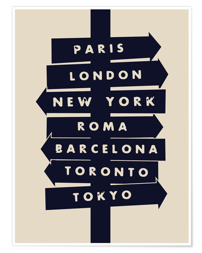 Póster City signs travel locations art print