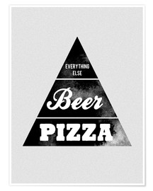 Póster Food graphic beer pizza logo parody