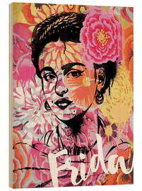Madera  Frida Kahlo ethnic pop art floral illustration - Nory Glory Prints
