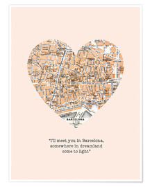 Póster I'll meet you in barcelona romantic quote