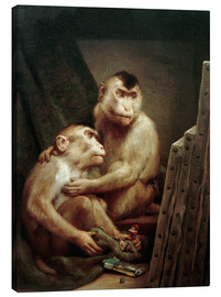 Lienzo  The art critic - two monkeys look at a painting - Gabriel von Max